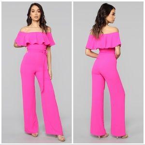 NWT Fashion Nova Hot Pink Jumpsuit